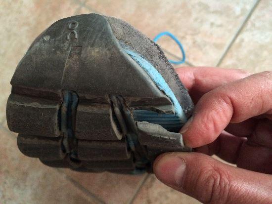 570km sonra ayakkabıdaki ilk ciddi yıpranma belirtisi